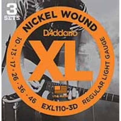 D'Addario EXL110 3D Nickel Wound Electric, Regular/Light, 10-46, 3 Pack for sale