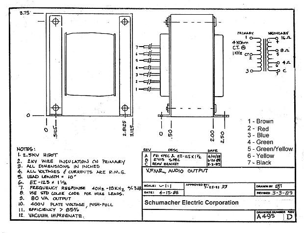 NOS Woodward Schumacher Output Transformer 4, 8, 16 Ohm Taps Fender Bassman  Super Amp Specs 2 - 6L6