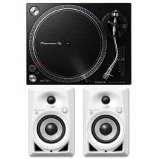"Pioneer PLX-500 Direct Drive Black DJ Turntable+DM-40BT-W 4"" Bluetooth Speakers"