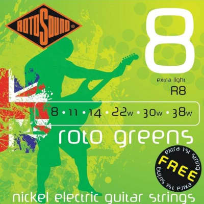 Rotosound R8 Roto Greens Electric, Extra Light, 8-38 for sale