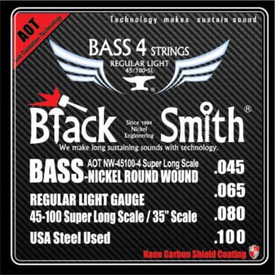 BLACKSMITH Electric Bass 4 String Set,  Nano Carbon Coated - Regular Light 45-100
