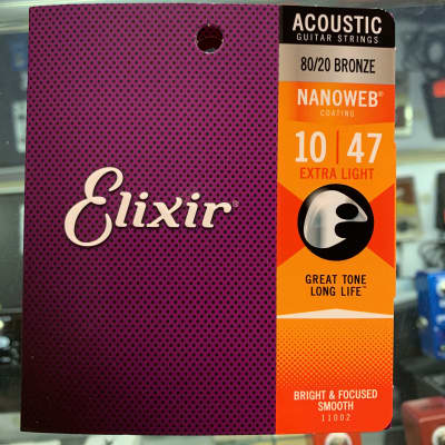 Elixir 80/20 bronze nano web coating extra light acoustic guitar strings 10–47