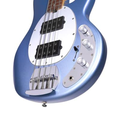 Sterling by Music Man StingRay Ray4 HH Lake Blue Metallic Bass Guitar for sale