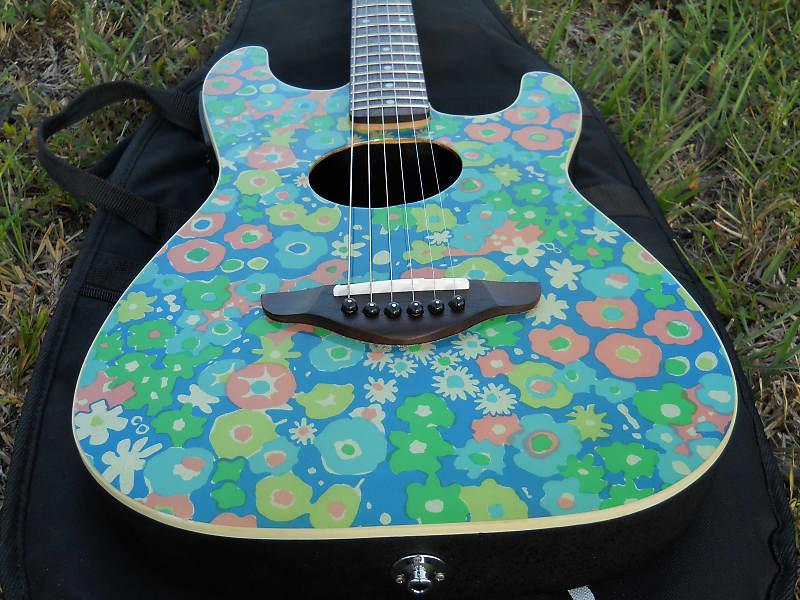 2003 Fender Stratacoustic Guitar Rare Blue Flower Limited Production Factory Fishman Electronics image