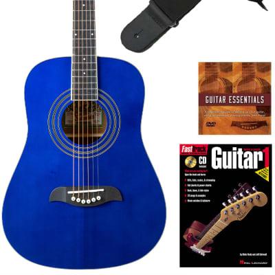 Oscar Schmidt OG5 3/4-Size Kids Acoustic Guitar - Blue Learn-to-Play Bundle with Tuner, Strap, Picks, Instructional Book, DVD, and Austin Bazaar Polishing Cloth for sale
