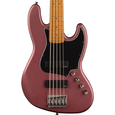Squier FSR Contemporary Active Jazz Bass HH V Burgundy Satin Roasted Maple
