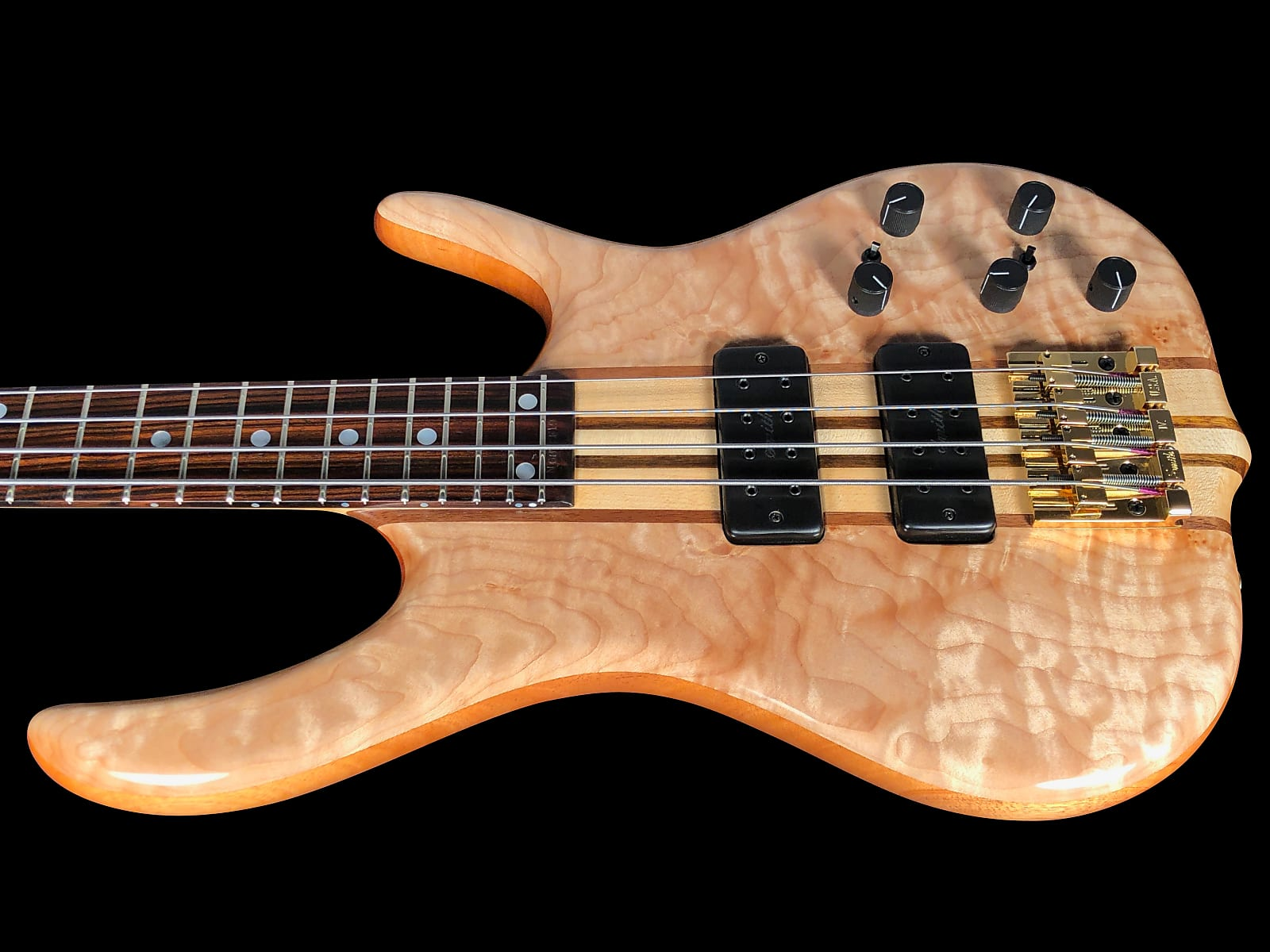 2019 Ken Smith BSR 4GN Quilted Maple 4-String Bass with Neck Thru & 18V Pre-Amp ~ Natural