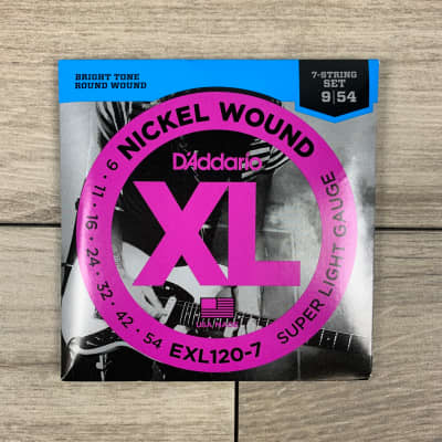 D'Addario EXL120-7 Nickel Wound Electric Guitar Strings, 09-54, Super Light