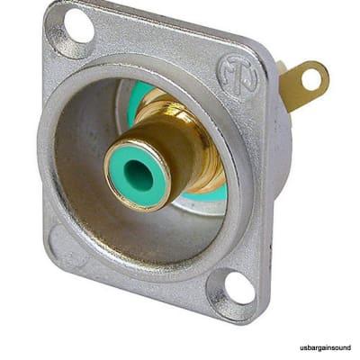 Neutrik NF2D-5 Phono RCA Socket - Nickel Panel D-shape w/Colored Washer - Green