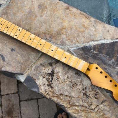 Allparts / Real Life Relics Strat Stratocaster Neck SMO-FAT Fender Neck Amber Aged Nitro Lacquer