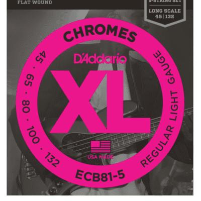 D'Addario ECB81-5 5-String Chromes Flat Wound Regular Light Bass Strings 45-132
