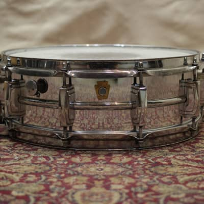 "Ludwig No. 410 Super-Sensitive 5x14"" Chrome Over Brass Snare Drum with Keystone Badge 1960 - 1963"