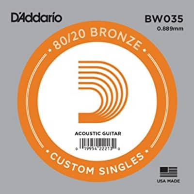 D'Addario BW035 Bronze Wound Single Acoustic Guitar String .035