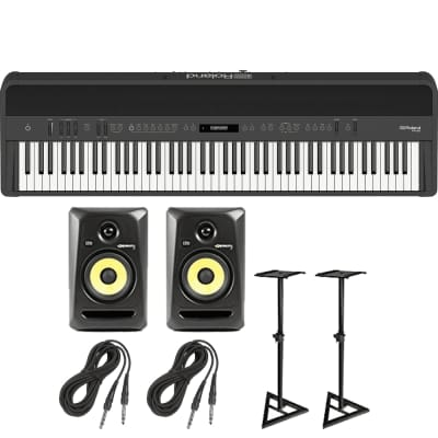 Roland FP-90 Digital Piano (Black) + KRK Rokit 5 G3 Active Studio Monitors with Monitor Stands and Cables