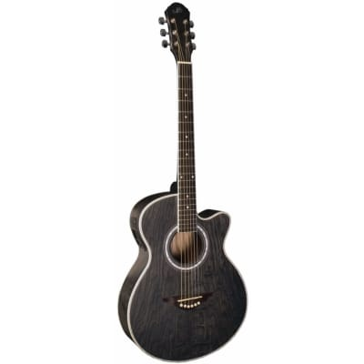 New Morgan Monroe MM-QABK Quilted Ash Concert Cutaway Acoustic Electric Guitar, Transparent Black for sale