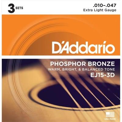 D'Addario EJ15-3D Phosphor Bronze Acoustic, Extra Light, 10-47, 3 Pack for sale