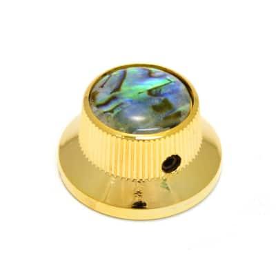 K-MBAB-G (1) Gold/Abalone Metal Guitar/Bass Bell Knob 6mm Split Shaft