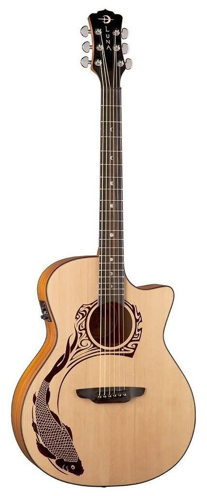 Luna oracle koi acoustic guitar next generation w preamp for Koi fish guitar