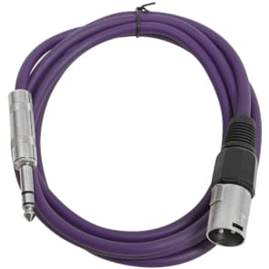 """Seismic Audio SATRXL-M6PURPLE XLR Male to 1/4"""" TRS Male Patch Cable - 6'"""