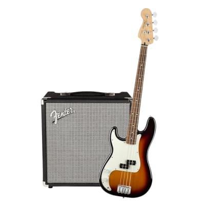 Fender Player Precision Bass Left Hand 3 Tone Sunburst Pau Ferro & Fender Rumble 25 Bundle for sale