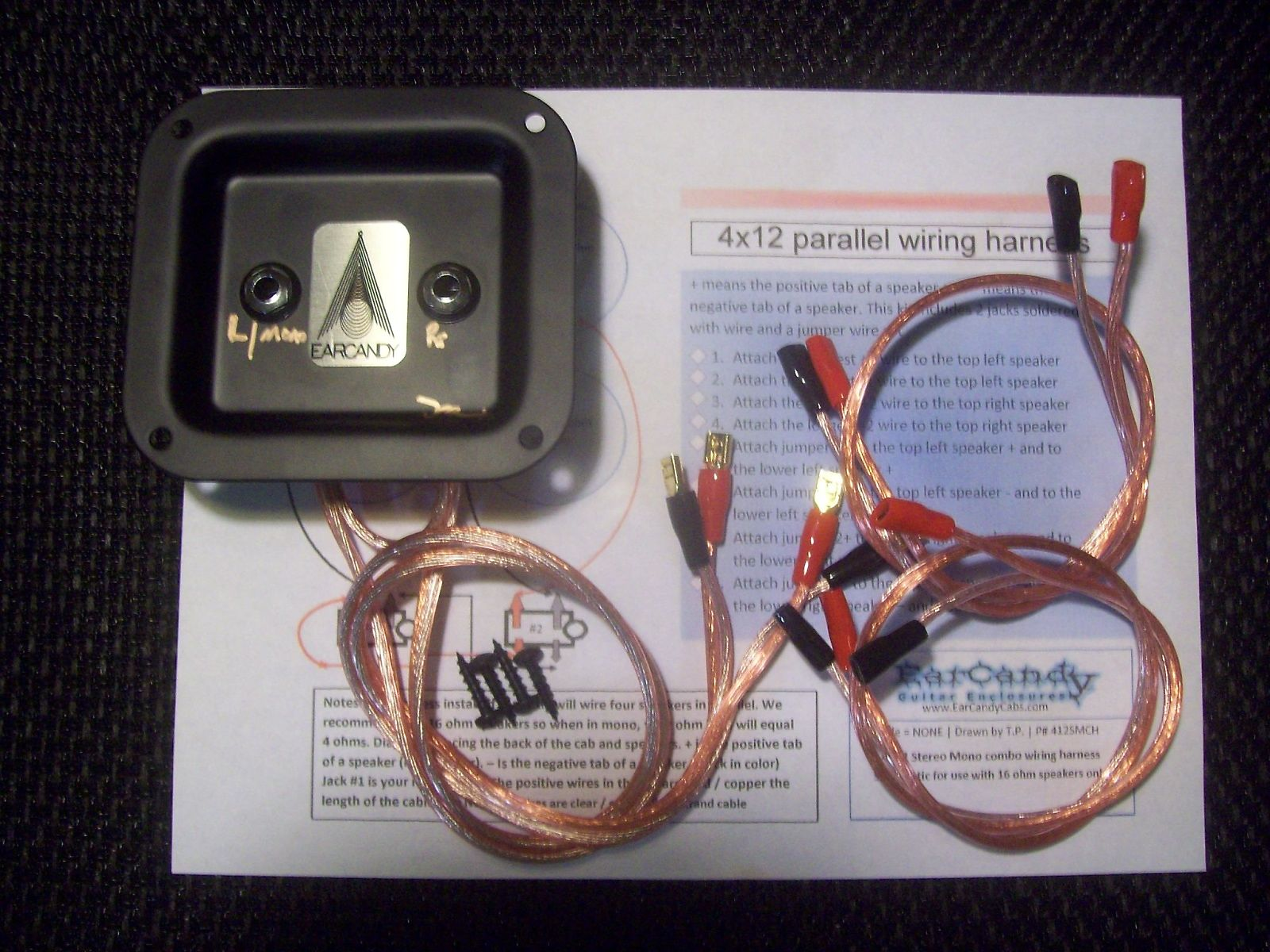 EarCandy 4x10 4x12 guitar speaker cab Wiring Harness 8 / 16 ohm series  parallel No Soldering P- out