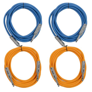 """Seismic Audio SASTSX-10-2BLUE2ORANGE 1/4"""" TS Male to 1/4"""" TS Male Patch Cables - 10' (4-Pack)"""