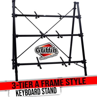 3 Tier Piano Keyboard Stand by GRIFFIN | Triple A-Frame Standing Synthesizer Mixer Workstation