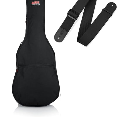 Gator Cases Acoustic Guitar Starter Kit - Gig Bag and Strap Bundle (GBE-DREAD, M8POLY-BLK)