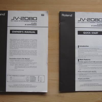 owners manual and quick start guide for Roland JV-2080 fantom rack synthesizer synth 1080 5080 xv