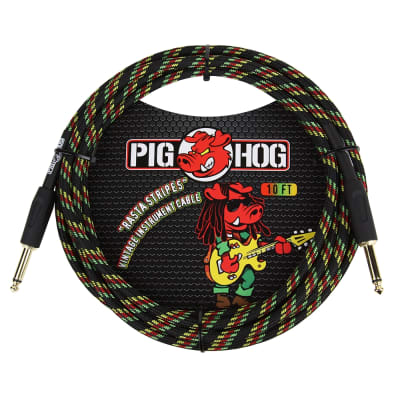 "Pig Hog Vintage Series Instrument Guitar Bass Cable 1/4"" TS Rasta Stripes 10 ft"