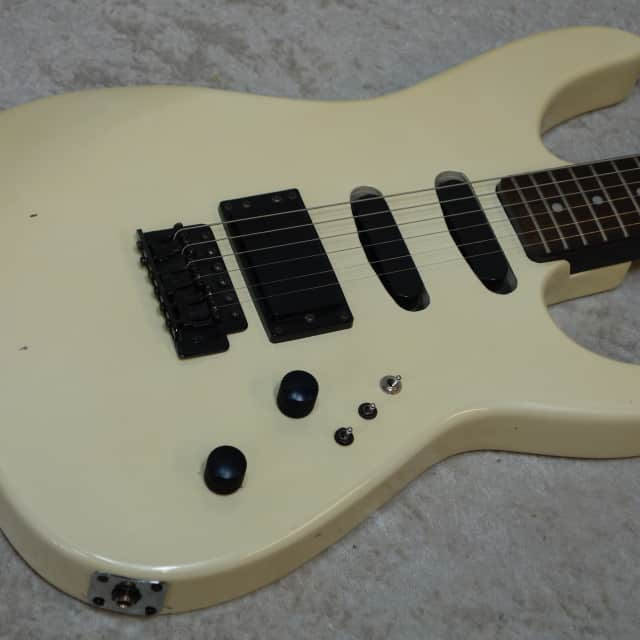 Lotus HSS electric guitar in pearl white finish image
