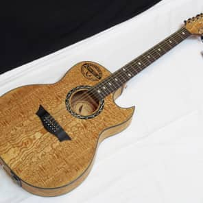 Dean EXQA12 GN Exhibition Quilted Ash 12-String Dreadnought with Cutaway and Electronics Natural