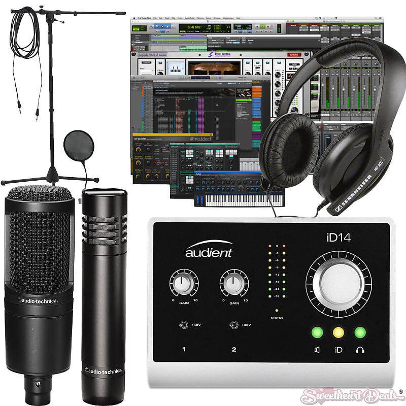 home recording studio bundle two mics audient id14 audio reverb. Black Bedroom Furniture Sets. Home Design Ideas