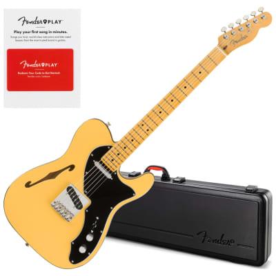 Fender 0113702751 Britt Daniel Tele Thinline, Maple Fingerboard, Amarillo Gold w/ Hard Case and Fender Play Card