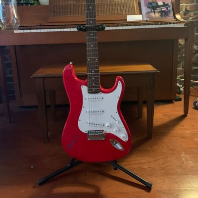 Beautiful Red/White Strat-Style Guitar Hand-Signed Guitar by ERIC CLAPTON w/Provenance for sale