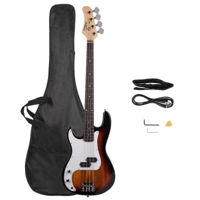 Glarry Precision Style  Left Handed Electric Bass Guitar W/ Gig bag and Extras Sunset 2021 for sale
