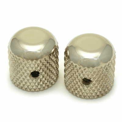 """2 Allparts Nickel Dome Knobs With Set Screw For guitar and Bass Fits USA 1/4"""" Solid Shaft Pots!"""