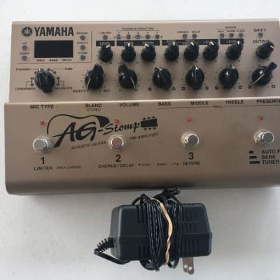 Yamaha AG Stomp Acoustic Guitar Multi-Effects Processor Pedal + Power Supply