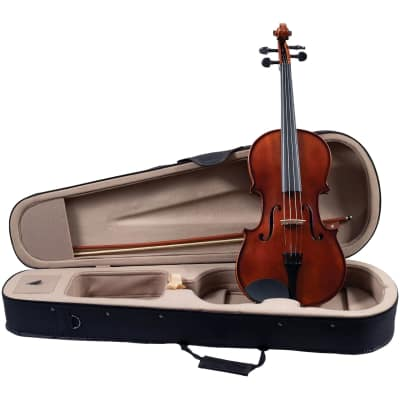 """New Palatino Campus VA-350 Solid Hand Carved 16"""" Viola Outfit with Case and Bow, Golden Brown"""