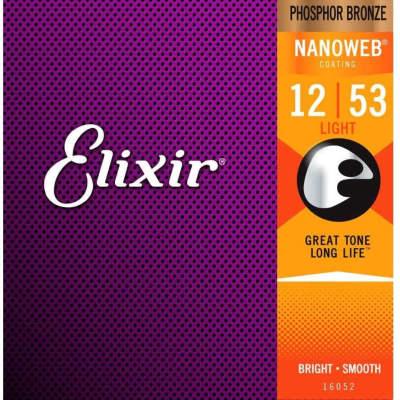 Elixir 16052 Strings Phosphor Bronze Acoustic Guitar Strings w NANOWEB Coating, Light (.012-.053)