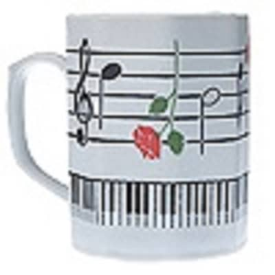 Aim Gifts  Octagon Shaped, Porcelin 12oz Mug with a music staff design with rose