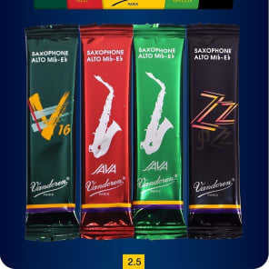 Vandoren SRMIXA25 Alto Saxophone Mix Card Reed Variety Pack - Strength 2.5
