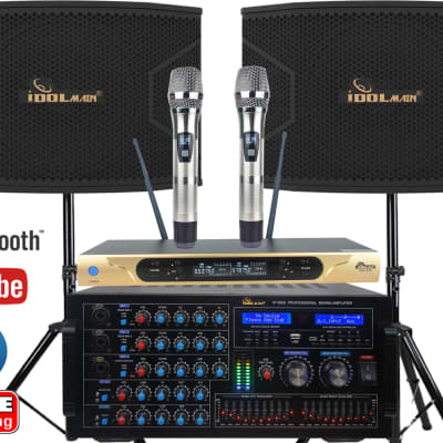 """IDOlmain Latest Mixing Amplifier 6000W With Dual Super Bass 12"""" Speakers and Dual Microphones"""