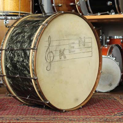 "1938 Ludwig & Ludwig 14""x28"" Artist Model Bass Drum in Black Avalon Pearl"