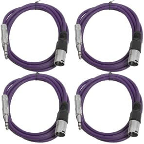 "Seismic Audio SATRXL-M6-4PURPLE 1/4"" TRS Male to XLR Male Patch Cables - 6' (4-Pack)"