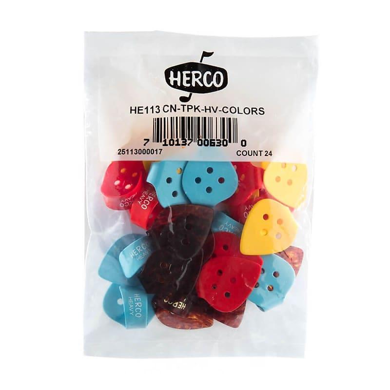Set of 4 Herco Flat Thumb Pick Heavy Assorted Colors HE113