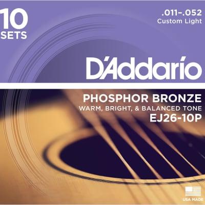 D'Addario EJ26-10P Phosphor Bronze Acoustic Guitar Strings Custom Light 11-52 10 Sets