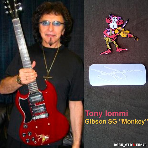 tony iommi stickers decal gibson sg monkey custom guitar reverb. Black Bedroom Furniture Sets. Home Design Ideas