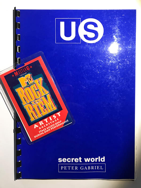 LOT - Peter Gabriel 1994 Secret World Tour Laminate & Itinerary Booklet  (Tony's copy)