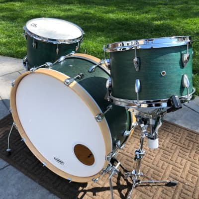 2019 Custom Travel Drum Set, Green hand-rubbed oil finish